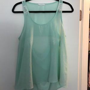 LUSH Mint Green Lace Tank